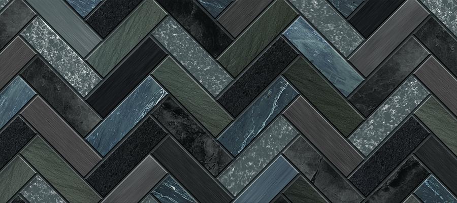 Dark Grey Herringbone Tiles