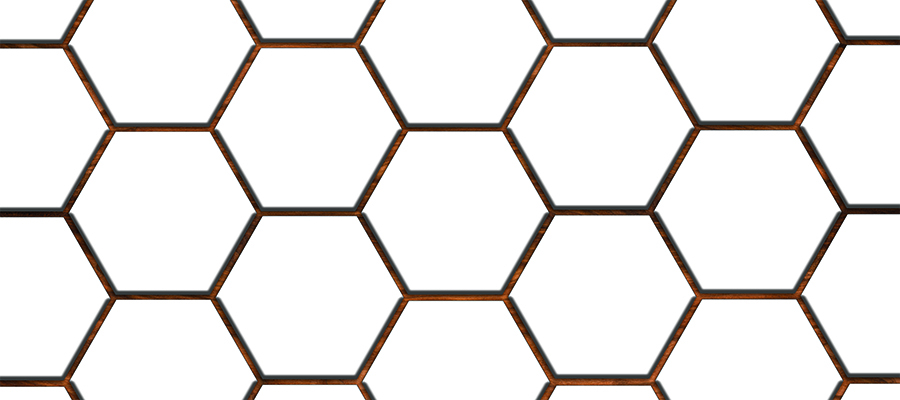Stylized White Octagonal Tiles With Wood Background